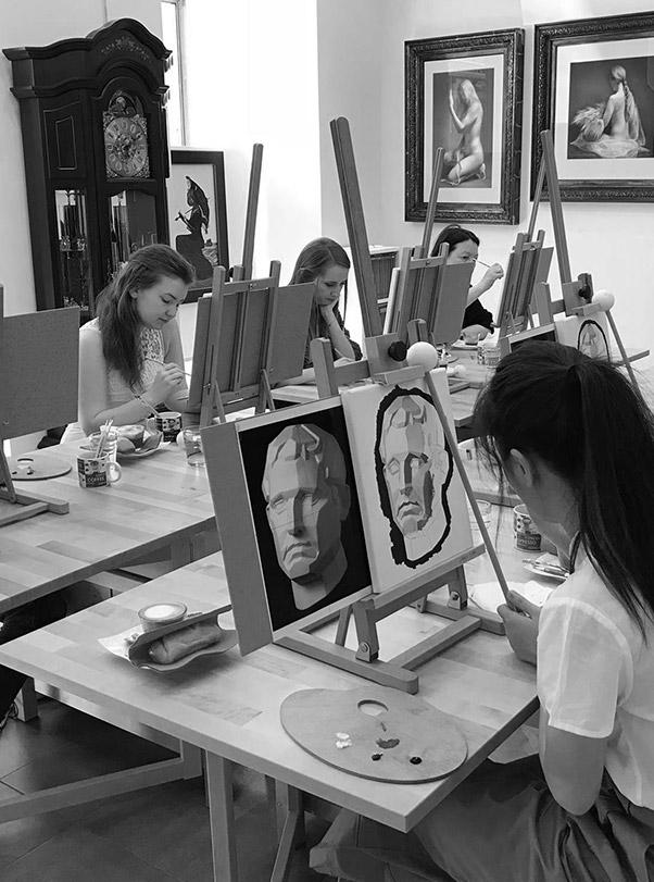 may fine art studio class grayscale