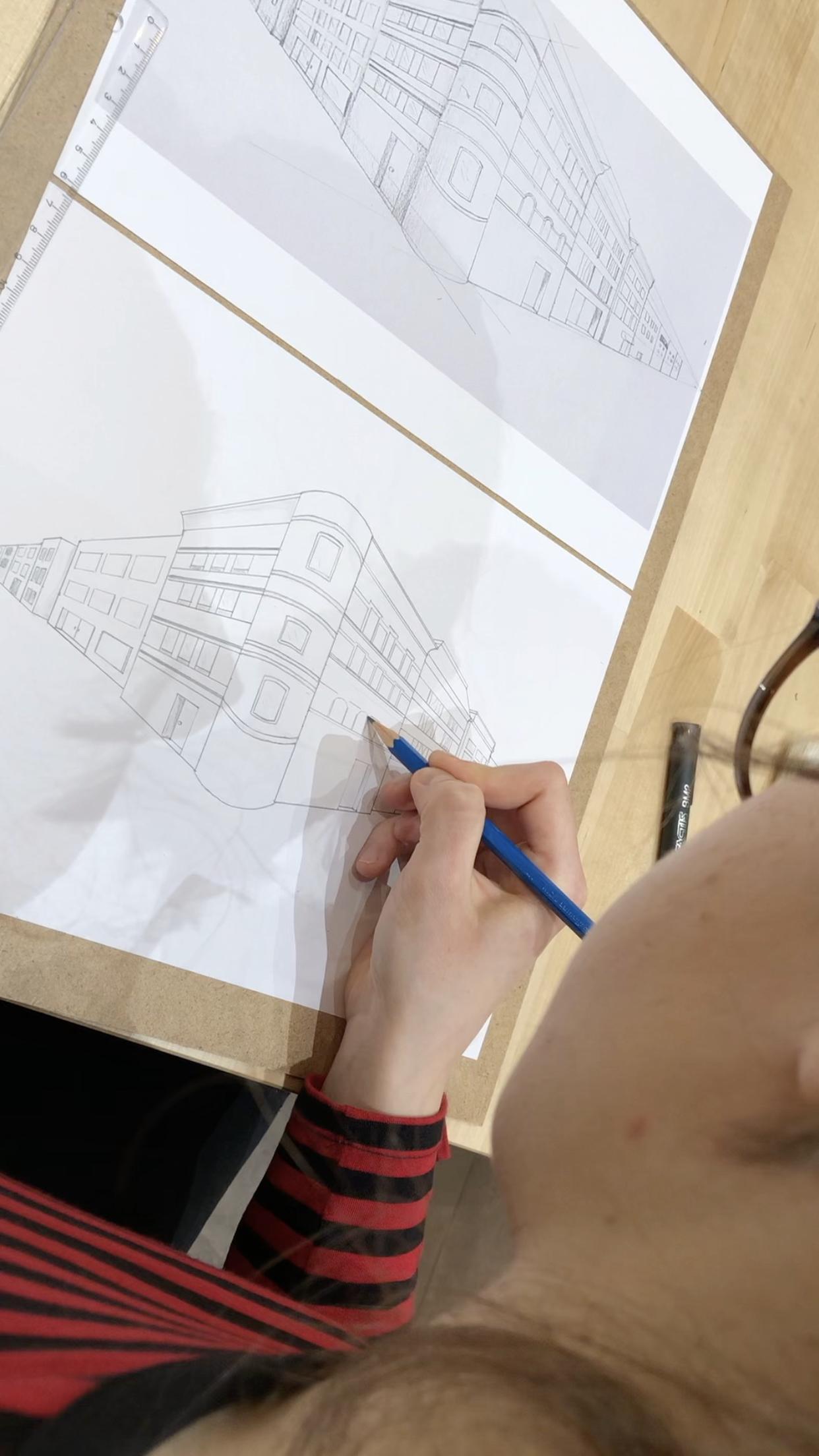 perspektivisches zeichnen Kurs, may fine art studio, wien